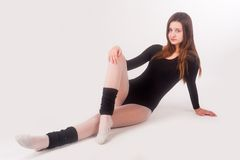 Flexible athletic woman stock photo