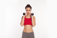 Fit young women exercising with dumbbells Stock Image