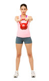 Fit Young Woman Lifting Kittle Bell Stock Image