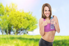 Fit young woman outdoors fitness workout Stock Images