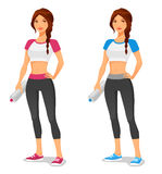 Fit young woman in sportswear. With water bottle Stock Images