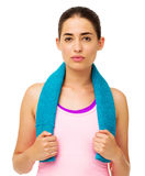 Fit Young Woman With Towel Around Neck Stock Image