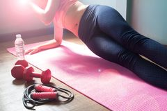 Fit young woman wearing sport wear doing side plank, workout at. Home, Healthy and diet concept royalty free stock image