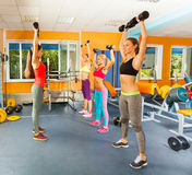 Fit young women in fitness club