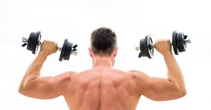 Fit your body and lose weight. Muscular back man exercising in morning with barbell. athletic body. Dumbbell gym. Fitness and sport. Mind and body in harmony royalty free stock photo