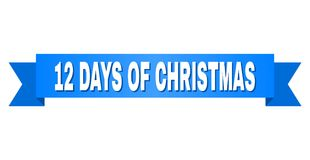 Fita azul com 12 DIAS do subtítulo do NATAL ilustração stock
