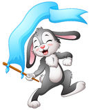 Fita azul de ondulação das bandeiras do coelho dos desenhos animados Imagem de Stock Royalty Free
