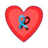 Fita azul fixada em um coração vermelho ilustração do vetor
