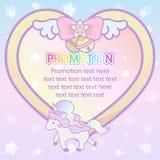 Fita bonita mágica pastel bonito do coração e templ da bandeira do unicórnio ilustração royalty free