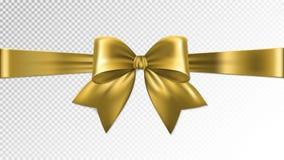 Fita brilhante do cetim do ouro no fundo transparente Vetor ilustração royalty free