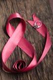 Fita cor-de-rosa bonita com anel Fotos de Stock