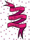 Fita cor-de-rosa com texto eu te amo à lua e à parte traseira com rosa ilustração stock