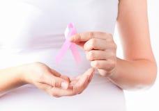 Fita cor-de-rosa da consciência do cancro da mama Foto de Stock