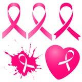 Fita cor-de-rosa em cinco variações Mês da conscientização do câncer da mama Fotografia de Stock