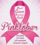 Fita cor-de-rosa que comemora a luta contra o câncer da mama em Pinktober, ilustração do vetor ilustração stock