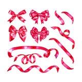 Fita da aquarela e ilustração da curva, elementos cor-de-rosa vermelhos do projeto isolados no fundo branco Imagem de Stock Royalty Free