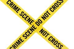 Fita da cena do crime com trajeto de grampeamento Fotos de Stock