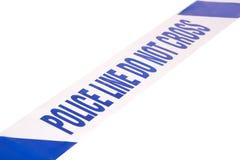 Fita da cena do crime da polícia e espaço angulares da cópia Foto de Stock