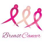 Fita da consciência do logotipo do cancro da mama ilustração stock
