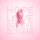 Fita da conscientização do câncer da mama Imagens de Stock