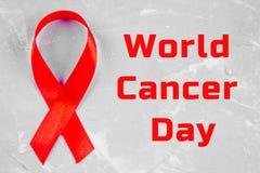 Fita da conscientização do dia do câncer do mundo 4 de fevereiro Imagem de Stock