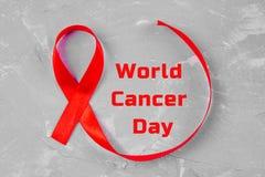 Fita da conscientização do dia do câncer do mundo 4 de fevereiro Imagem de Stock Royalty Free