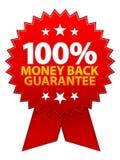 Fita da garantia da parte traseira do dinheiro Fotografia de Stock