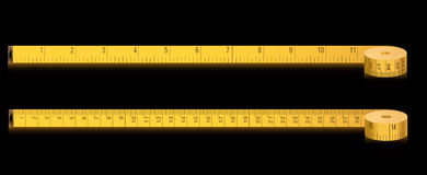 Fita da medida - polegadas e centímetros Fotos de Stock