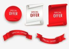Fita da oferta especial Rolo vermelho Etiqueta da venda da bandeira Disconto da oferta especial do mercado Fotos de Stock Royalty Free