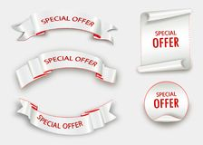 Fita da oferta especial Rolo vermelho Etiqueta da venda da bandeira Disconto da oferta especial do mercado Imagem de Stock Royalty Free
