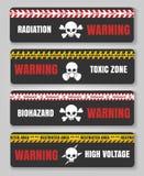 Fita de advertência com crânios ilustração stock