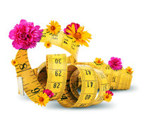 Fita de medição com flores Imagem de Stock Royalty Free