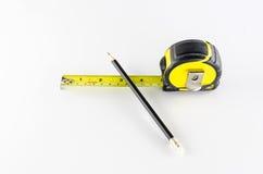 Fita de medição com lápis Foto de Stock Royalty Free