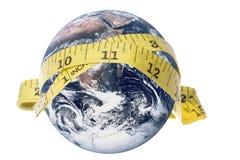 Fita de medição da terra do planeta isolada Fotografia de Stock Royalty Free