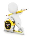 fita de medição dos povos 3d brancos Foto de Stock Royalty Free