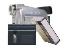 Fita de MiniDV com o Digicam - isolado Imagem de Stock Royalty Free