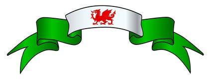 Fita do cetim do ícone da bandeira de Galês Fotografia de Stock