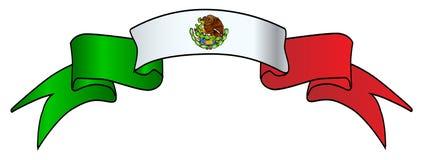 Fita do cetim do ícone da bandeira mexicana Imagens de Stock Royalty Free