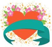 Fita do coração do Valentim com flores cor-de-rosa Fotografia de Stock