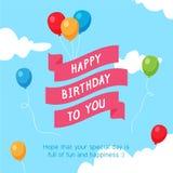 Fita do feliz aniversario no céu com balão colorido ilustração stock