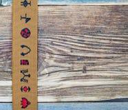 Fita do marrom do vintage com ornamento bordados Fotos de Stock Royalty Free