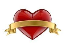 Fita dourada do whit do coração do caramelo Fotografia de Stock
