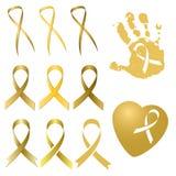 Fita dourada em versões diferentes Dia do câncer da infância Imagens de Stock Royalty Free