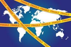 Fita frágil toda sobre o mapa de mundo ilustração royalty free