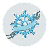 Fita isolada bandeira do whith da roda do navio Imagem de Stock Royalty Free