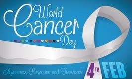 Fita longa, algumas cores e lembrete do dia do câncer do mundo, ilustração do vetor Imagem de Stock Royalty Free