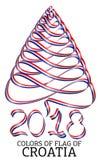 Fita na forma de uma árvore de Natal com as cores da bandeira da Croácia Fotos de Stock