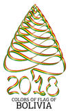 Fita na forma de uma árvore de Natal com as cores da bandeira de Bolívia Fotos de Stock Royalty Free
