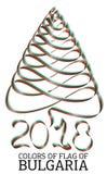 Fita na forma de uma árvore de Natal com as cores da bandeira de Bulgária Fotografia de Stock Royalty Free