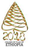Fita na forma de uma árvore de Natal com as cores da bandeira de Etiópia Fotos de Stock Royalty Free